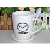 白色陶瓷杯 带勺马克杯插勺定制LOGO定制批创意礼品广告杯 无锡夏季喝水杯定制 可来图定制
