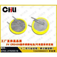 厂家直供高品质3.0V CR2430插件焊脚电池