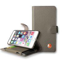 广东苹果手机皮套iphone8纯色真皮带支撑装充电宝手机套厂家OEM定制