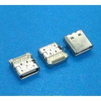 Type-C 24P四脚插板 板上型母座 白色胶芯 USB 3.1 双包壳 有后盖