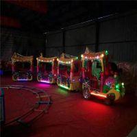 乌鲁木齐物流实拍无轨火车游乐设备13座玻璃钢材质观光小火车音乐彩灯代步工具