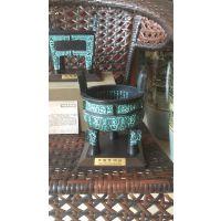 西安仿古鼎工艺品桌摆 20厘米方鼎 圆克鼎 礼盒包装 商务会议纪念铜鼎做字