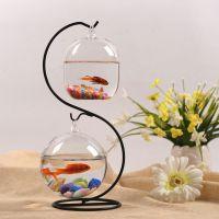 悬挂小鱼缸迷你缸办公桌面创意玻璃小型金鱼缸水族箱 家用斗鱼缸