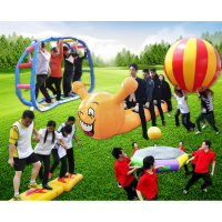 趣味运动会道具 充气毛毛虫拓展游戏器材 竞速疯狂旱地充气龙舟玩具