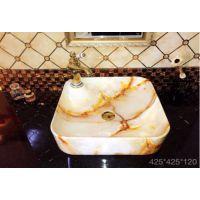 欧式仿古装修创意新款仿理石纹艺术卫生间陶瓷一体单孔台面厕所洗手盆台盆