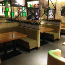 顺德港式皮革餐厅沙发桌椅定制,简约现代沙发椅子餐桌组合图片