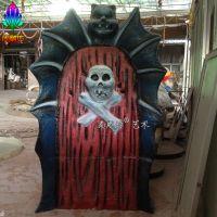 恐怖主题骷髅头玻璃钢雕塑 鬼屋设计万圣节节日主题场景制作