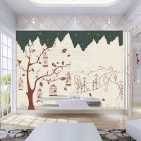 3d水晶凹凸立体电视墙壁纸手绘花鸟鸟笼墙纸客厅大型壁画无缝影视墙布背景