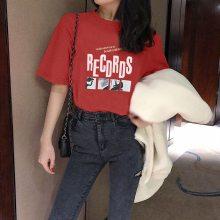 广州沙河女装T恤圆领短袖库存服装批发韩版时尚女装半袖3-5元T恤清货