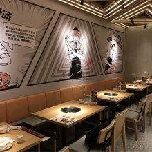 广州韩式烤肉店家具-卡座沙发餐桌椅订做-自助烤肉餐厅卡座桌椅组合