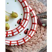 ladybug 浮雕手绘陶瓷盘子 波点瓢虫彩绘创意个性儿童菜盘8寸盘