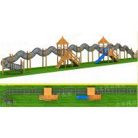 北京同兴伟业直销木制树屋滑梯、组合秋千、多功能爬山坡、土坡钻洞爬网