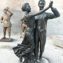 铸铜双人舞蹈表演者雕像恰恰交际舞演员铜塑像玻璃钢现代交谊舞人物伦巴跳华尔兹男女拉丁探戈雕塑树脂现货