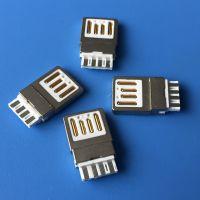 A公双面焊线式 短体金手指 AM-4P 正反插公头 锌合金双面插公头 两面插USB