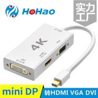 Mini DP转VGA HDMI DVI三合一转换器4K 雷电迷你DP接电视投影仪
