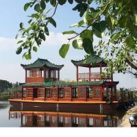 兴化大型餐饮船厂家直销 质保5年 纯手工制作 双层画舫船 特色餐饮船