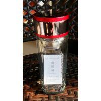 西安彩盖玻璃杯定制 年会礼品杯印字 双层水晶杯新款高山流水思宝杯子代理