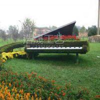 东莞大朗仿真植物钢琴架雕塑 浩晟工艺乐器绿雕 草皮钢琴架个性定制仿真度高