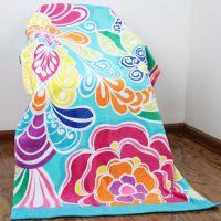 迎春雨纯棉割绒印花沙滩巾 家居旅游海滩必备品 定制高档沙滩巾