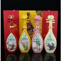 梅兰竹菊琵琶酒瓶套装 1斤礼盒装空瓶子批发 景德镇陶瓷瓶厂家