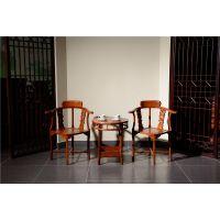 如金红木小件-古典实木情人椅-东阳红木木雕小件家具