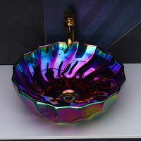 时尚五彩色陶瓷欧式陶瓷电镀台面圆形台上新款单盆