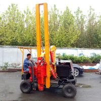 轮式护栏打桩机 打拔钻小型护栏打桩机