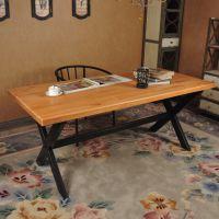 海德利 美式乡村实木桌子成套餐桌椅组合铁艺家具快餐咖啡厅酒吧餐厅椅子