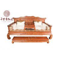 刺猬紫檀家具 古典中式荷塘月色罗汉床 千百年红木