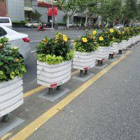 市政道路隔离PVC花箱塑木花槽道路花坛花盆园艺护栏摆件种花
