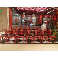 朔州市铁艺快餐桌椅,简约现代食堂饭店喷涂餐椅多色可选