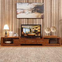 中式实木视听柜组合鑫平阁家具简约现代客厅可伸缩性实木地柜电视柜厂家直销
