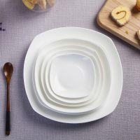 方形景德镇骨瓷盘家用深菜盘牛排西餐盘子纯白色汤盘西餐具碗碟