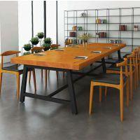 麦德嘉供应CZ098新西兰进口松木办公会议实木桌椅可定制美式乡村铁艺餐厅桌椅