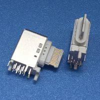 16P侧插母座 TYPE C 16PIN侧立式母座 三个固定脚DIP 带定位柱 白胶 快充插座