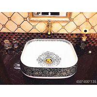 厂家直销无孔方形欧式一体陶瓷耐用洗手艺术盆