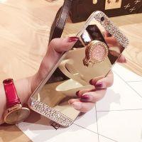 奢华S8彩钻新款镜面指环支架手机壳iPhone8plus苹果X三星S8PLUS