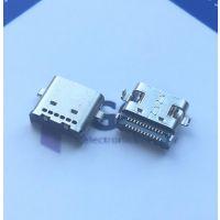 沉板24P全贴TYPE C母座|USB3.1母座90度四脚DIP(有柱+双排针贴片SMT)直口
