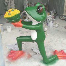 玻璃钢卡通求爱青蛙模型雕像牛蛙店餐厅门口树脂迎宾求婚青蛙王子动物雕塑跪地表白蛙道具招财摆件