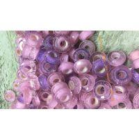 粉色红色大孔琉璃珠内嵌银沙 迷人的粉色慕拉诺琉璃珠 适合DIY潘多拉魅力手链散珠