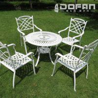 度帆铸铝桌椅户外咖啡 花园铸铝桌椅 欧式白色休闲铸铝桌椅五件套