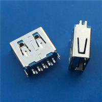 USB3.0母座180度 超短体夹板1.0四脚鱼叉端子焊脚 3.0USB连接器