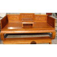 西安实木罗汉床价格效果图、红木贵妃榻尺寸、老榆木罗汉床厂家