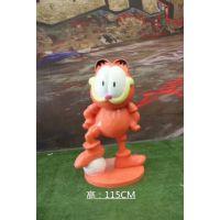 东莞昌盛供应玻璃钢加菲猫模型雕塑玻璃纤维咖菲猫道具雕塑