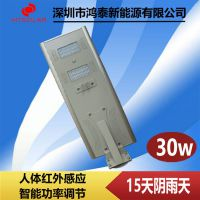广西玉林30W太阳能路灯led庭院灯 鸿泰太阳能led投光灯生产厂家