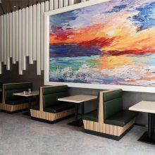 花都区自选快餐厅家具定做,现代中式自选快餐卡座沙发餐桌椅组合