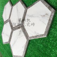 佛山慕斯凯喷墨雅士白亚光六角砖防滑拼花六角砖瓷砖 客厅餐厅内墙砖喷墨