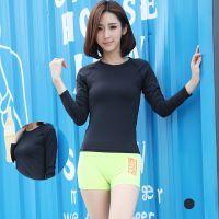 现货韩国正品紧身高弹力速干健身衣跑步运动简约T恤春夏长袖上衣