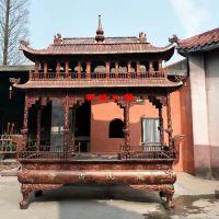 供应铸铁两层长方形八龙柱香炉 陕西西安佛堂宗祠香炉厂家