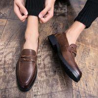 英伦布洛克小皮鞋韩版潮流苏男鞋男士休闲鞋发型师尖头皮鞋一脚蹬